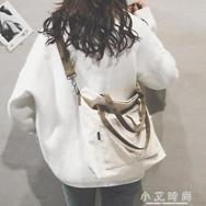 托特包女文藝布袋包ulzzang帆布單肩大包寬帶斜背包  聖誕節禮物