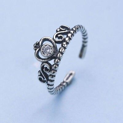 925純銀戒指開口戒-精美復古皇冠優雅女飾品73qm41【獨家進口】【米蘭精品】