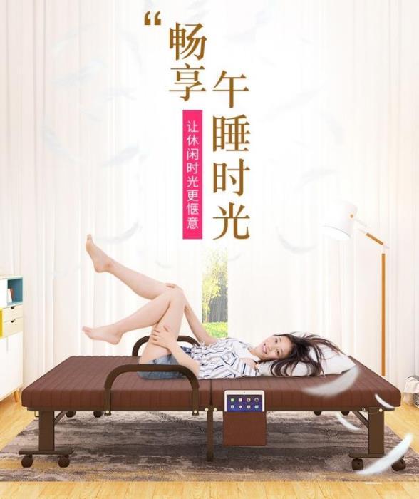 簡易折疊床單人雙人便攜家用午睡陪護辦公室躺椅成人午休1.2米床