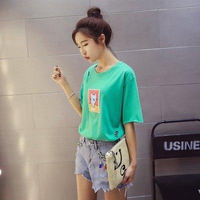 FINDSENSE G5 韓國時尚 破洞 短袖 T恤 學生 卡通 貼佈 寬鬆 上衣
