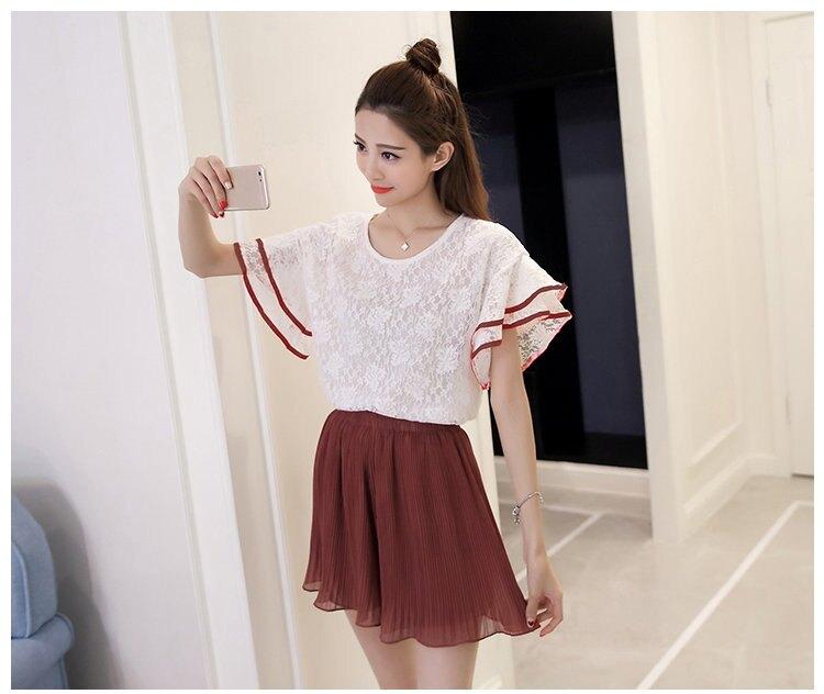 FINDSENSE G5 韓國時尚 夏裝 蕾絲 上衣 荷葉袖 套裝 短裙 兩件套