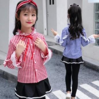 韓国子ども服  新作 秋着 女の子 長袖シャツ 長袖 チェック柄 ブラウス チェックシャツ キッズ トップス110120130140150160cm