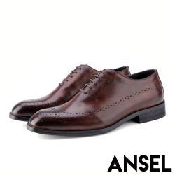 【Ansel】全真皮頭層牛皮手工擦色復古布洛克沖孔英倫風德比鞋 咖啡