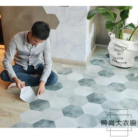 防滑地貼地板貼紙瓷磚墻貼自粘墻紙裝飾六角10片裝