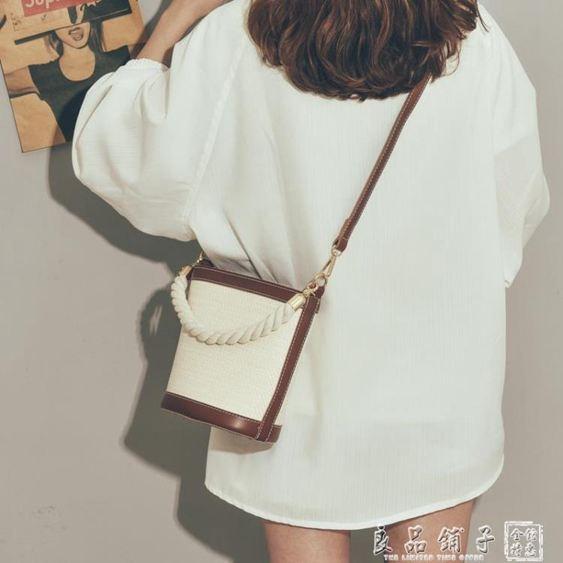 高級感包包女2019新款潮百搭網紅草編水桶斜挎包最新版洋氣編織包      良品鋪子