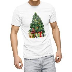 igsticker プリント Tシャツ メンズ Msize おしゃれ クルーネック 白 ホワイト white t-shirt 015843 クリスマスツリー プレゼント 冬