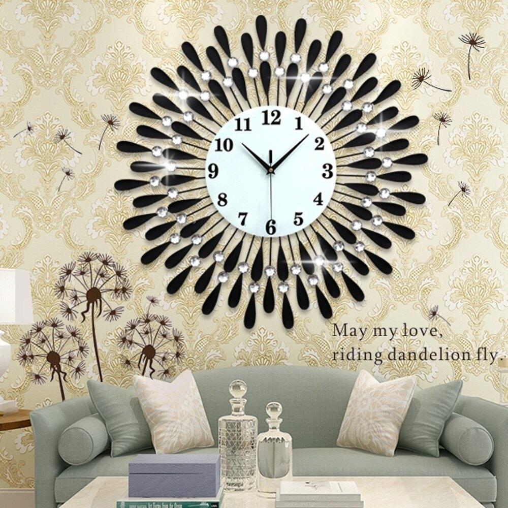 掛鐘電子壁鐘客廳裝飾掛鐘靜音錶個性創意時鐘家用鐘錶歐式石英鐘    都市時尚DF
