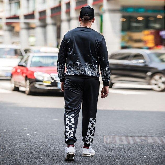 FINDSENSE品牌監製 大尺碼男裝 潮流衛衣套裝男兩件套圓領長袖T恤冰絲速乾排汗衣服休閑運動套裝