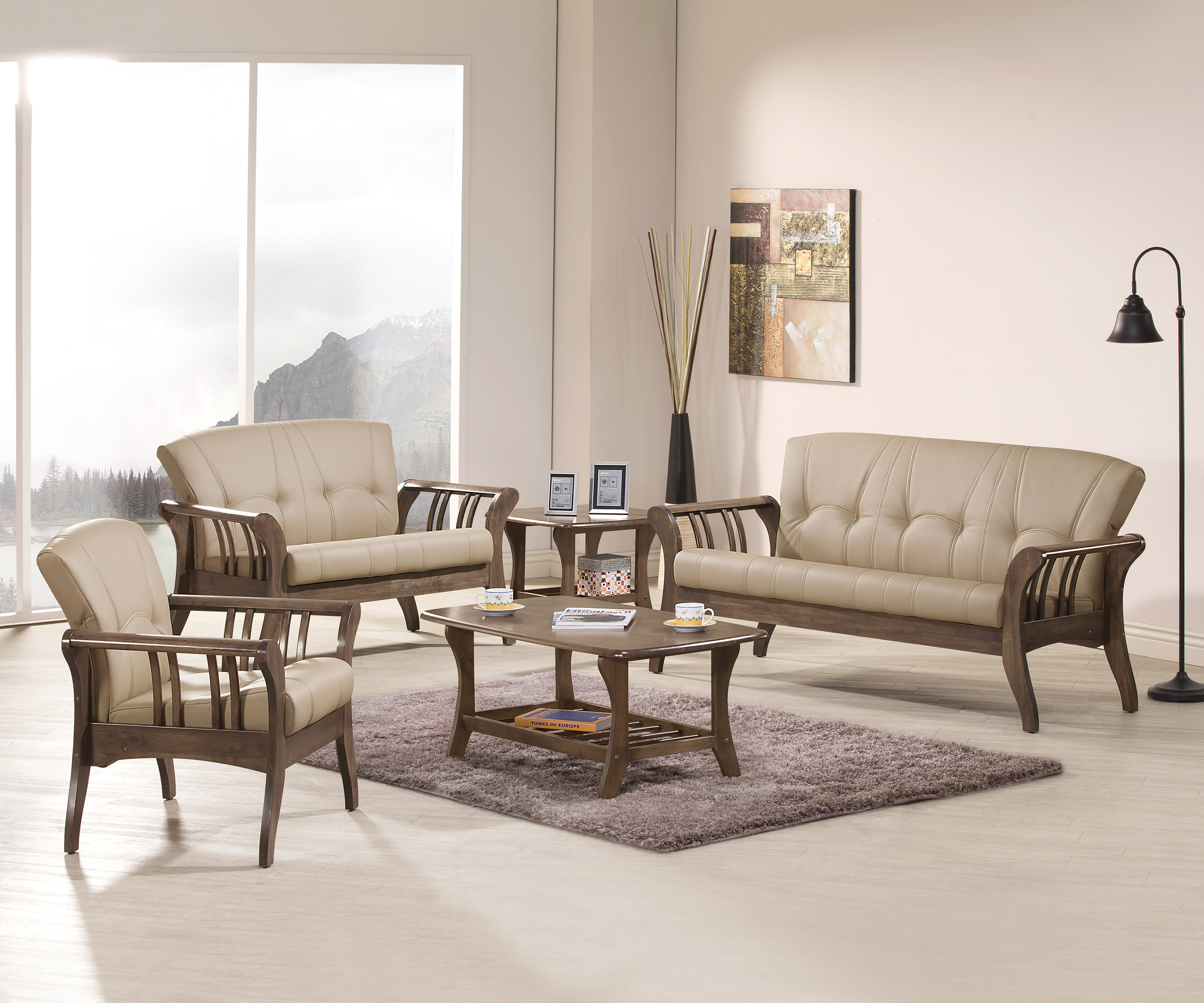 《伊豆》618購物節 618年中慶 (促銷免運)卡其 三人沙發 全實木 三人位沙發 三人座 皮沙發 木製沙發 工廠直營 辦公沙發 組椅 【新生活家具】