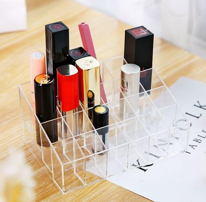 亞克力 24格梯形架 透明化妝品口紅架 指甲油唇彩口紅收納盒 展示架【Z90230】