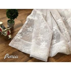 Ponoa(ポノア) 高級 刺繍 レースカーテン アジャスターフック付き 花柄 北欧 西洋風 ボイルカーテン (横幅100cm×丈183cm, 1枚入り)