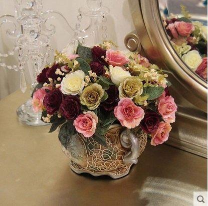 知根仿真花歐式鴛鴦玫瑰小花束茶幾餐桌擺設花家居裝飾花絹花3個組(圖一)