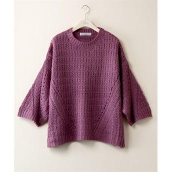 ゆるシルエット編地切替ニットプルオーバー【JINTY】 (大きいサイズレディース、ニット・セーター)plus size sweater, 毛衣
