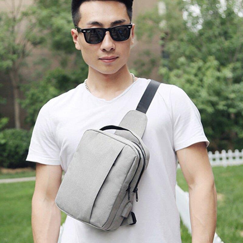 WallFree窩自在★ 智能單肩斜背帆布胸包(內/外置USB)  韓版男款單肩斜背多功能防水包
