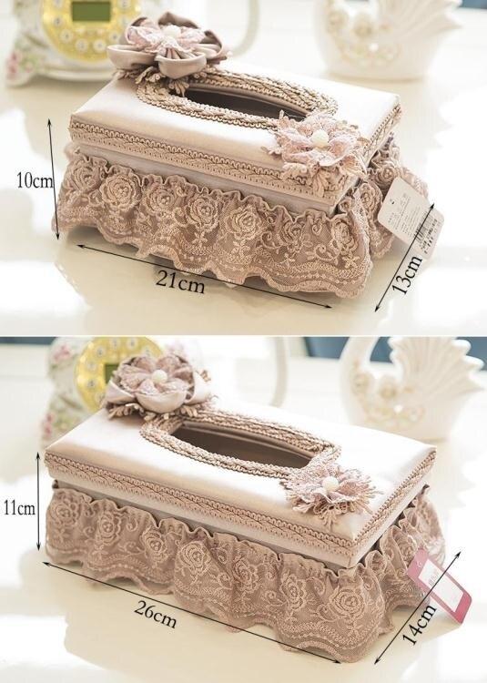 玉蘭歐式創意面紙盒布藝 歐式客廳抽紙盒 蕾絲茶幾桌面餐巾盒