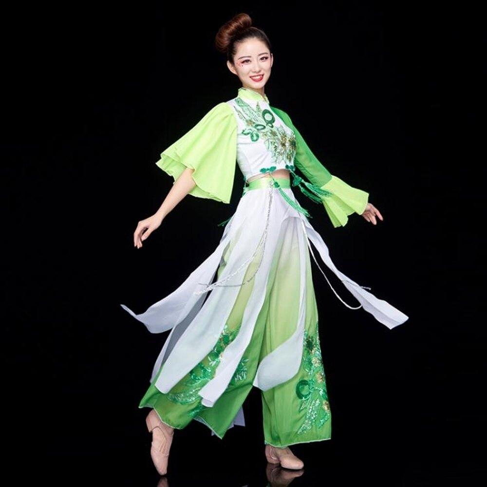 舞蹈裝 古典舞服裝女飄逸中國風民族水袖傘舞演出服成人廣場舞舞蹈服套裝 夢藝家