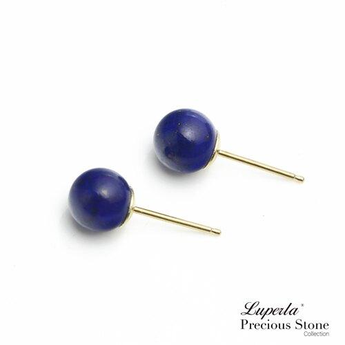 大東山珠寶 9月份誕生石- 18K金天然青金石耳環 6mm圓珠