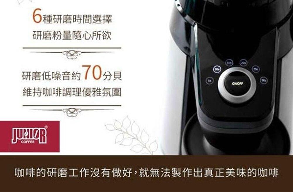 《贈咖啡豆x2包+隔熱杯x2》Junior JU1421 喬尼亞 高質感 頂級錐刀+自動定量 電動磨豆機