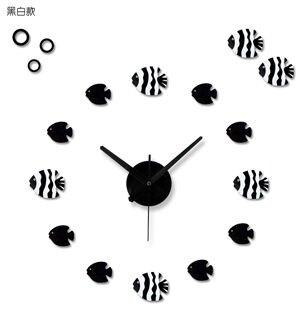 趣味時鐘錶熱帶魚(黑白魚)
