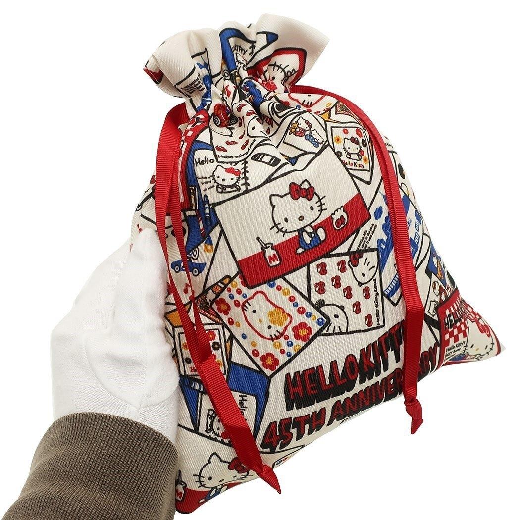 束口袋 三麗鷗 Hello Kitty 凱蒂貓 45th紀念款 束口收納袋 日本進口正版授權