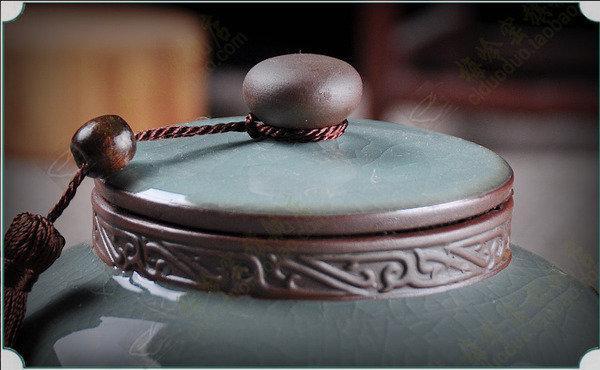 萬瓷朝宗 哥窯陶瓷麒麟茶葉罐 茶葉罐龍井裝茶葉罐 陶罐茶缸