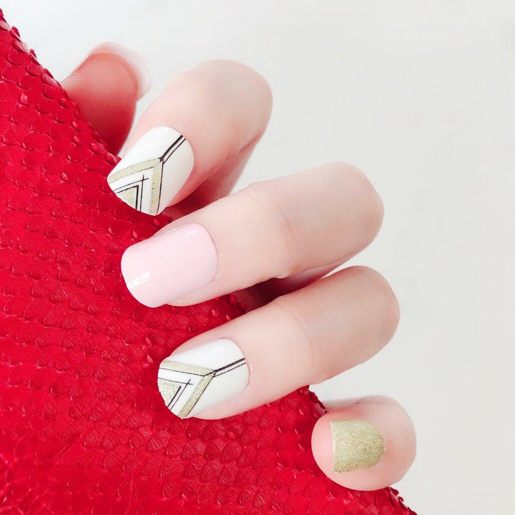 現貨~ NJ110 24片成品美甲片方頭假指甲背膠貼時尚彩印環保封層