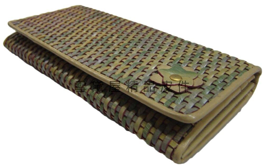 限時 滿3千賺10%點數↘   ~雪黛屋~SALVADOR 長夾復古皮夾籐編織材質二折暗釦型主袋仿古風格WVAB6022