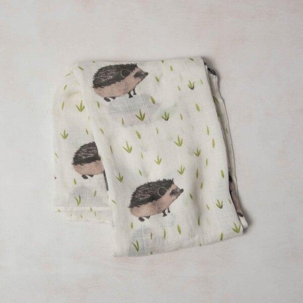 美國 Little Unicorn 竹纖維紗布巾單入組/包巾~刺蝟紳士 全館滿5千贈星寶貝防曬乳效期至21年11月