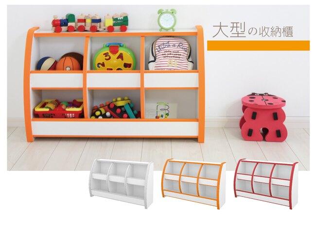 兒童/書櫃/收納 TZUMii 小木偶兒童六格收納櫃-橘白