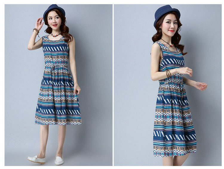 FINDSENSE G5 韓國時尚 夏季 新款 棉麻背心裙 寬鬆 中長款 條紋 連身裙 無袖 女裙