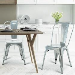 E-home Sidney希德尼工業風金屬高背餐椅-銀色