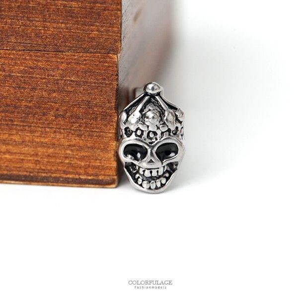 耳針 小丑骷髏燦笑造型鋼耳環 柒彩年代【ND447】
