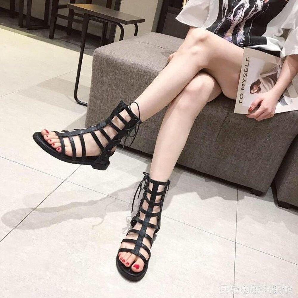 新款涼鞋女晚晚復古羅馬鏤空露趾綁帶平底學生簡約chic鞋女夏 居家物語