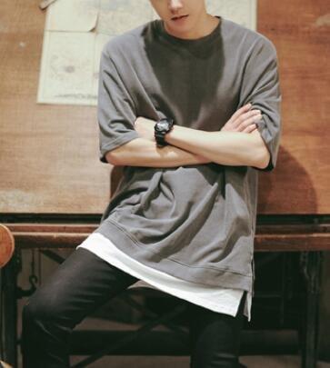 FINDSENSE 品牌 時尚休閒 男士 寬鬆 假兩件 短袖T恤 素面T