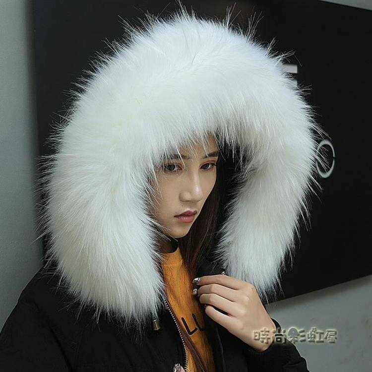 秋冬仿狐貍毛毛領子羽絨服貉子毛毛領通用大衣領子假帽條圍脖單買《小蘿莉》