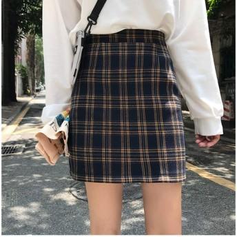 チェックスカート レディース チェック柄 チェック柄スカート制服 制服スカート A型スカート スカート 短いスカート やせが目立つ 足が長いように見えます 美脚 春秋冬(青い底/黄色の格子、M)