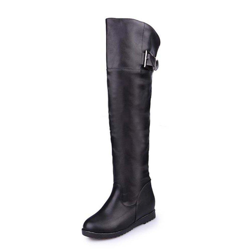 春秋新款靴子女高筒騎士靴冬季膝上長靴內增高女鞋大碼平底長筒靴