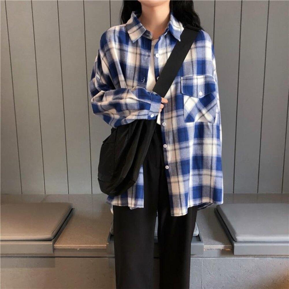 襯衫 chic韓版百搭春夏學院風格子寬鬆松垮垮長袖襯衫上衣少女 曼慕衣櫃