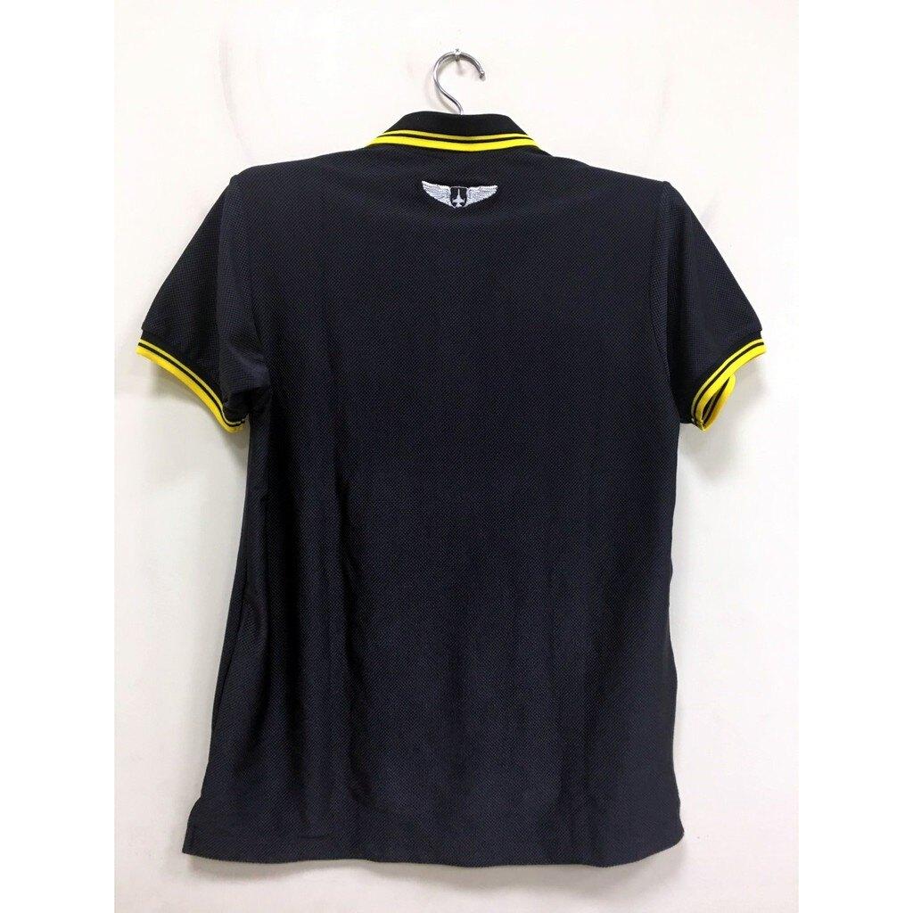 【嘎嘎屋】台灣製 polo 排汗衫 空軍排汗衫 運動吸濕排汗衫 黑色 刺繡Logo F-16戰鬥機 限量S~XL號