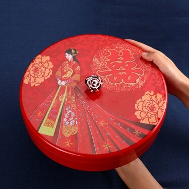 喜慶干果盒紅家用干果盤食盒分格帶蓋客廳婚慶過年瓜子糖果盤 領券下定更優惠