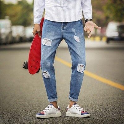 九分褲小腳牛仔褲-韓版個性破洞熱銷男褲子2色73qy37【獨家進口】【米蘭精品】