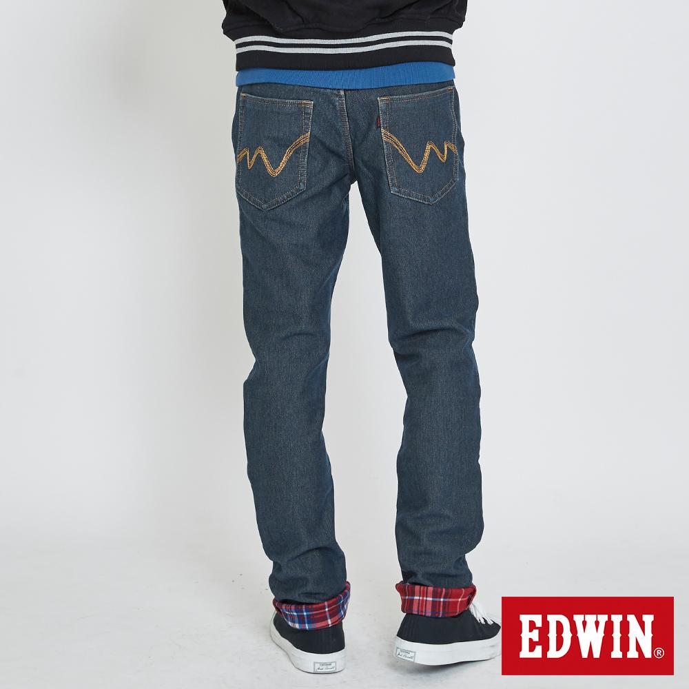 EDWIN JERSEYS 迦績 大尺碼 保溫AB褲-男款 石洗綠 內層格紋貼合 保溫褲 TAPERED