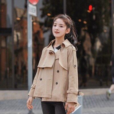 ★風衣外套短款大衣-純色寬鬆雙排扣休閒女外套73ue10【獨家進口】【米蘭精品】