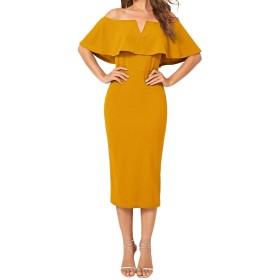 Romwe パーティードレス 結婚式 ワンピース お呼ばれ ドレス 薄手 半袖 マキシ丈 フォーマル XLサイズ