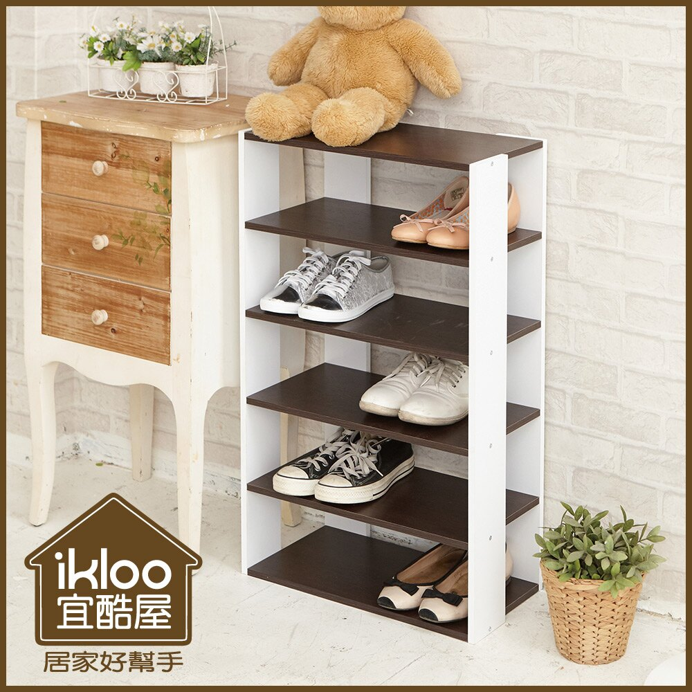 【ikloo】日系優雅五層木質鞋櫃(兩色可選) 全店免運