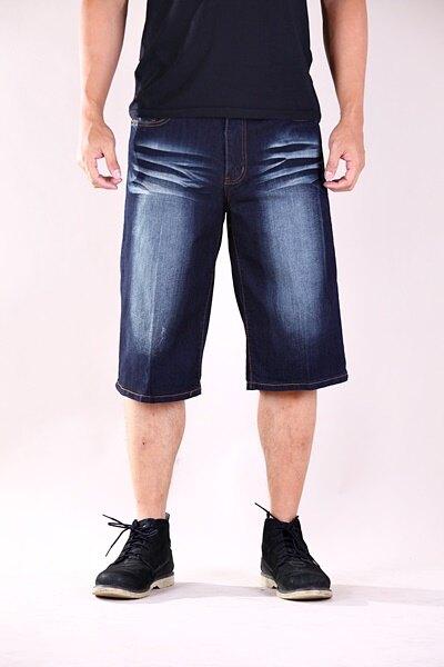 【CS衣舖 】美式風格 立體刺繡 彈力透氣 牛仔短褲 七分褲 2045