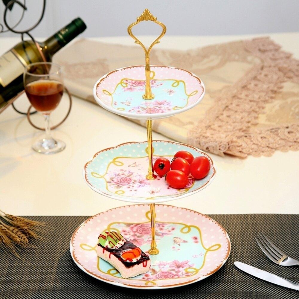 點心盤陶瓷水果盤 創意玻璃下午茶點心盤客廳蛋糕架干果盤    都市時尚DF