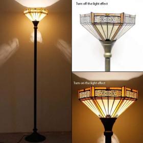 照明ティファニースタイルのフロアランプ、リビングルームのフロアランプ、ヴィンテージステンドグラスシェード付きアンティーク樹脂ブロンズライトポールベース、幅12、高さ65,C