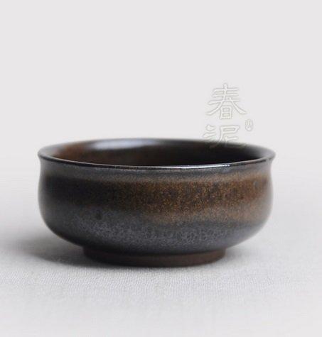 功夫茶杯 粗陶茶杯 杯盞 茶盞 茶杯 品茗杯 粗陶茶杯(棕色)(圖二)