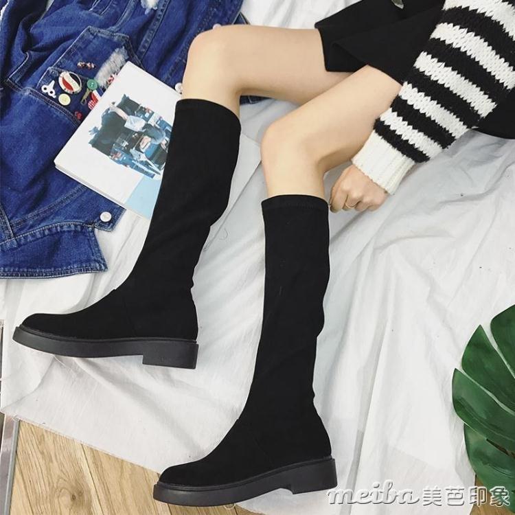 高筒靴歐洲站真皮女靴子長筒靴厚底彈力靴顯瘦腿長靴騎士靴女冬季 印象